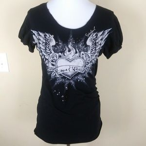 Affliction Sinful Womens Tshirt Tee Wings Heart L